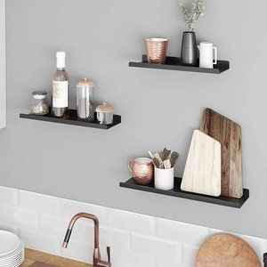 Set of Industrial Metal Floating Shelves